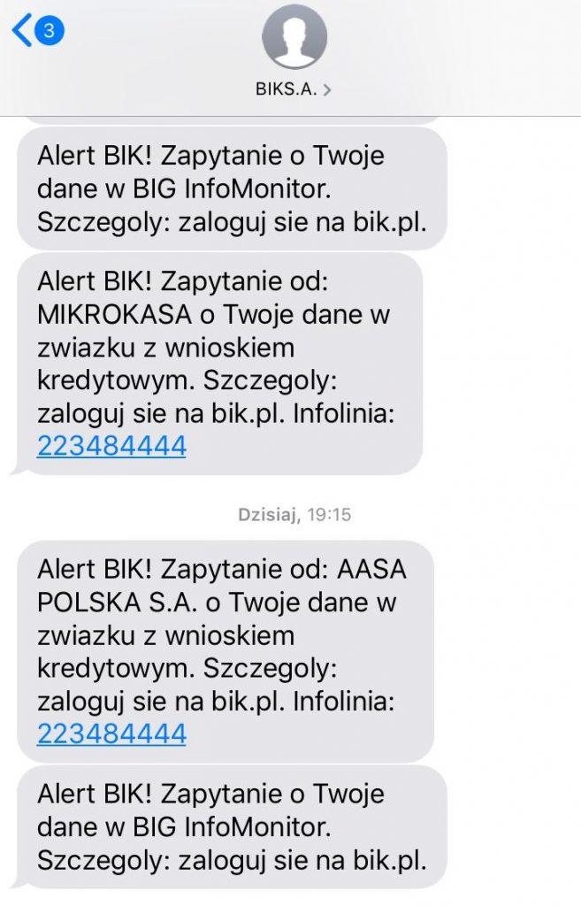 BIK Informacja SMS