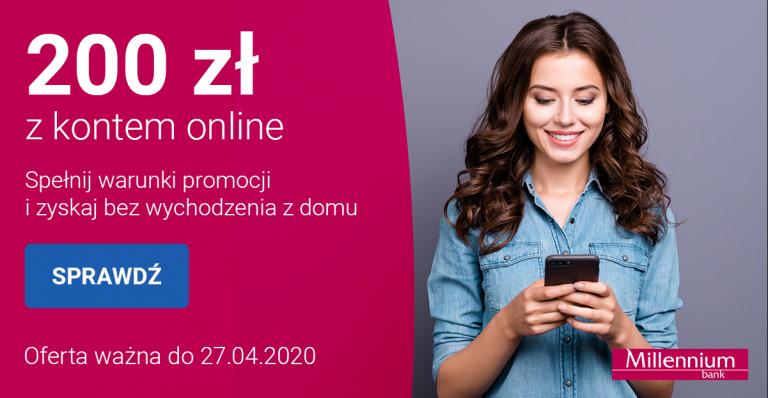 Millenium 200 zł za założenie konta ONLINE + 20 zł na Pyszne.pl